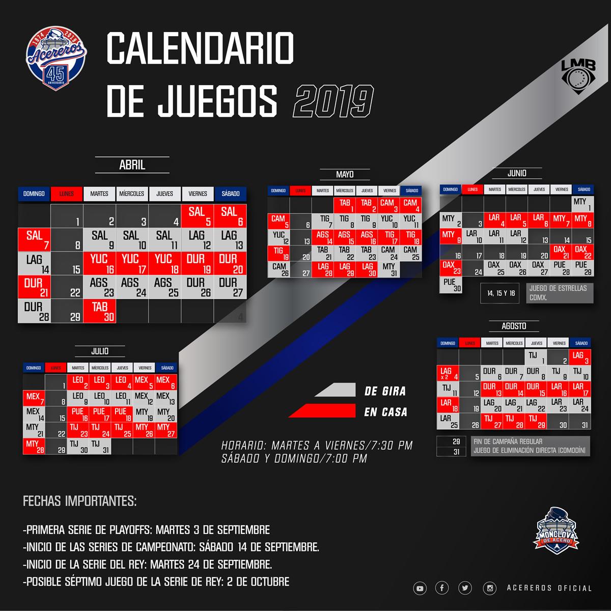 Acereros Calendario 2019