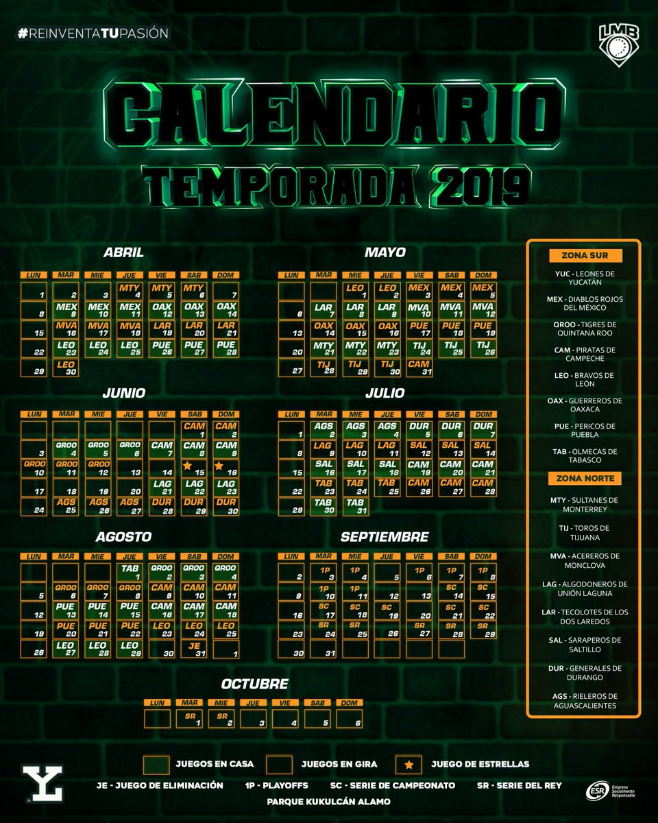 Leones de Yucatán Calendario Temporada 2019
