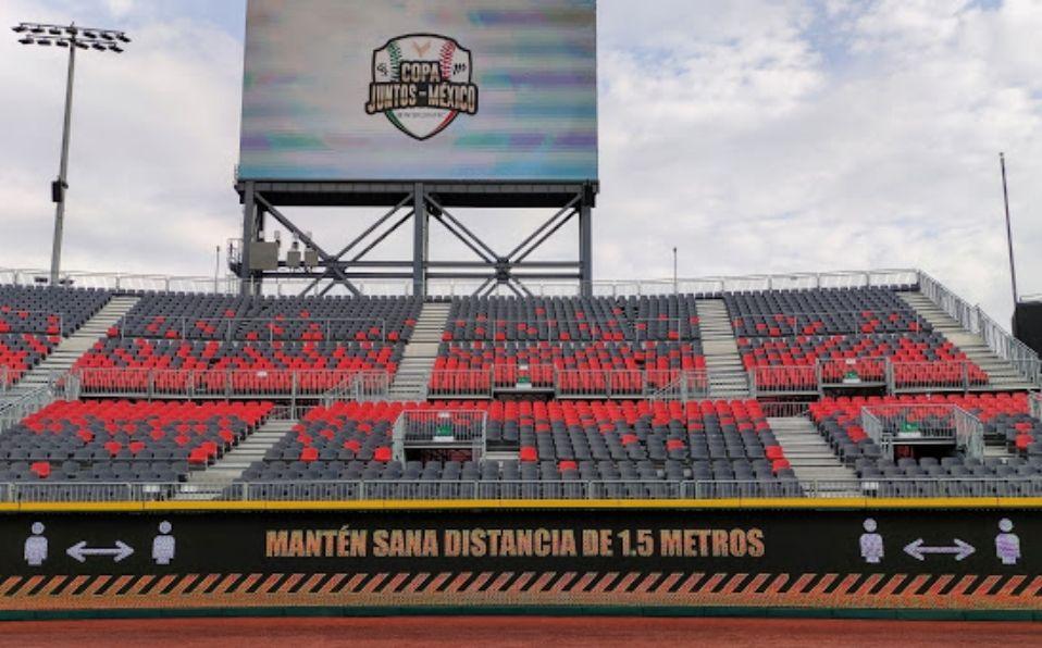 El Estadio Alfredo Harp Helú, casa de los Diablos Rojos del México de la LMB, se prepara para la Copa Juntos Por México.